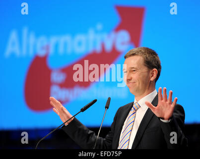 Bremen, Germany. 01st Feb, 2015. AfD party founder Bernd Lucke reacts to the applause of the delegates at the 3rd federal party conference of the Alternative fuer Deutschland (AfD) party in Bremen, Germany, 01 February 2015. The three-day party conference ends in the afternoon. PHOTO: INGO WAGNER/dpa/Alamy Live News