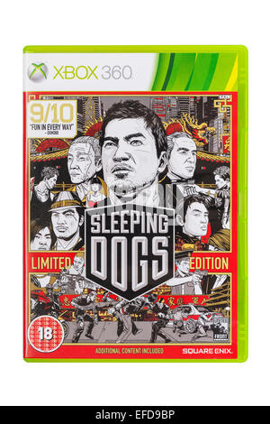 The Microsoft XBOX 360 Sleeping Dogs game on a white background - Stock Photo