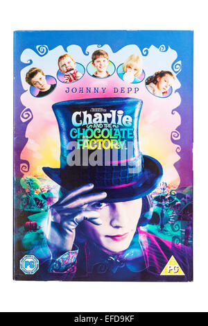 Charlie and the Chocolate Factory the film DVD on a white background - Stock Photo