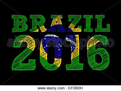 Brazil flag icon 2016 - Stock Photo