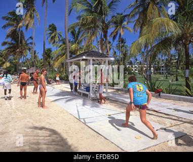 Shuttle game, Jolly Beach Resort & Spa, Saint Mary's Parish, Antigua, Antigua and Barbuda, Lesser Antilles, Caribbean - Stock Photo