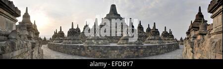 Panorama of Borobudur Temple on Java island - Stock Photo
