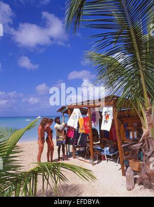 Beach art stall, Jolly Beach Resort & Spa, Saint Mary's Parish, Antigua, Antigua and Barbuda, Lesser Antilles, Caribbean - Stock Photo