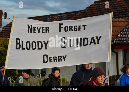 Londonderry, Northern Ireland, UK. 1st February, 2015.  Banner carried at the Bloody Sunday commemoration. The march - Stock Photo