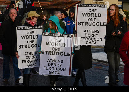 Londonderry, Northern Ireland, UK. 1st February, 2015.  Placards carried at the Bloody Sunday commemoration. The - Stock Photo