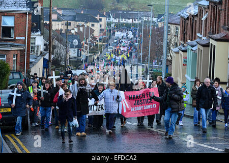 Londonderry, Northern Ireland, UK. 1st February, 2015. Thousands participate in the Bloody Sunday memorial in Londonderry - Stock Photo