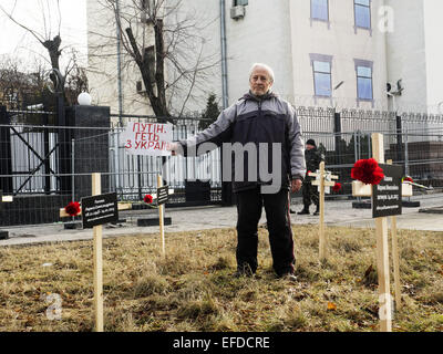 Feb. 1, 2015 - Crosses placed by activists and bearing the names of 30 people who died in shelling in Mariupol on - Stock Photo