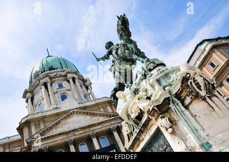 Statue of Prince Eugene of Savoy at Budavari Palota Buda Castle Palace. - Stock Photo