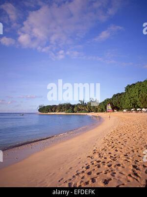 Sandy Lane Beach at sunset, Saint James Parish, Barbados, Lesser Antilles, Caribbean - Stock Photo