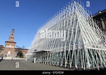 One of the Expo Gate pavilions by the Sforzesco Castle in Milan, Italy. - Stock Photo
