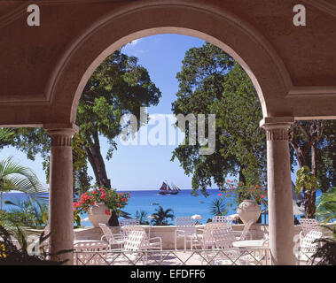Sandy Lane Hotel terrace showing Jolly Roger Pirate Ship, Holetown, Saint James, Barbados, Lesser Antilles, Caribbean - Stock Photo