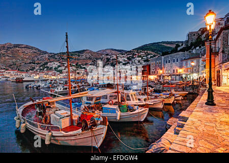 The picturesque harbor of Hydra in Greece by night - Stock Photo