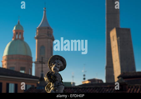 Upper view of Bologna City in the morning with tower, Emilia Romagna, ITaly - Stock Photo