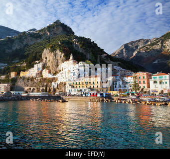 Travel in Italy ,view of beautiful Amalfi town, in the Costiera Amalfitana, Sorrento gulf. Campanira, Italy. - Stock Photo