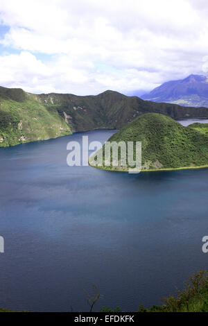 The water  and islands in Lake Cuicocha, a volcanic crater lake near Cotacachi, Ecuador - Stock Photo