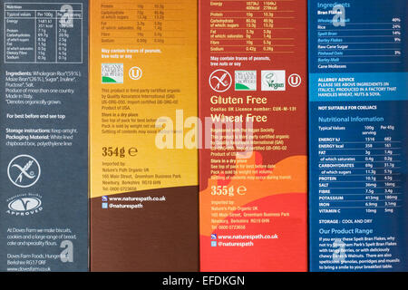 Nutrition information on cereal packets. - Stock Photo