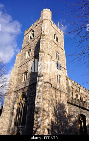 15th century tower of All Saints Fulham Church, Pryors Bank, Bishop's Avenue, Fulham, London, England, United Kingdom - Stock Photo