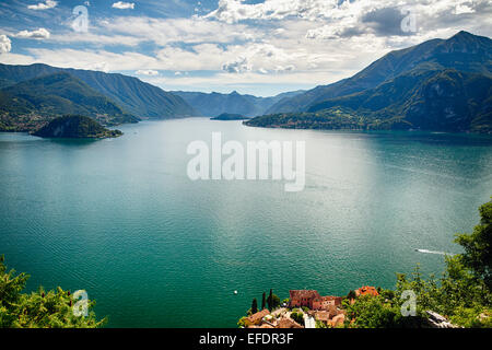 High Angle View of Lake Como Towards Bellagio and Lenno from Castle Vezio, Varenna, Lombardy, Italy - Stock Photo