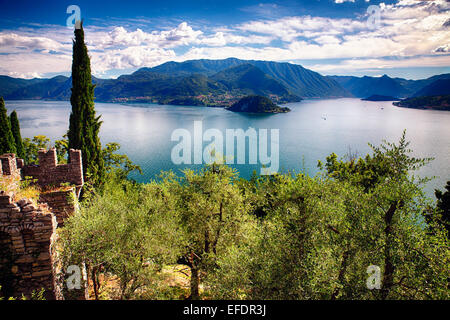 High Angle View of Lake Como from Castle Vezio, Varenna, Lombardy, Italy