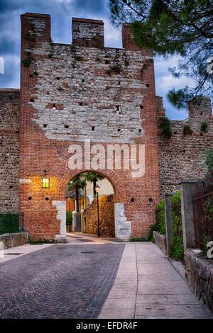 Medieval City Gate At Night, Lazise, Lake Grada, Veneto , Italy - Stock Photo