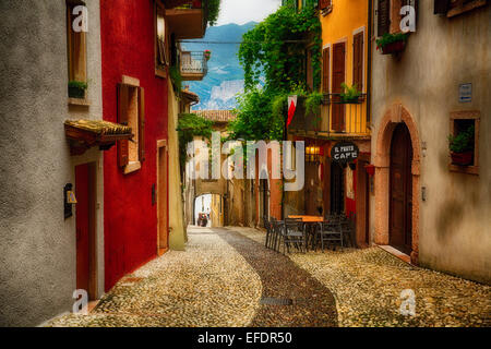 Colorful Street in Malcesine, Lake Garda, Lombardy, Italy - Stock Photo
