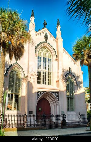 French Huguenot Church Entrance View, Charleston, South Carolina - Stock Photo