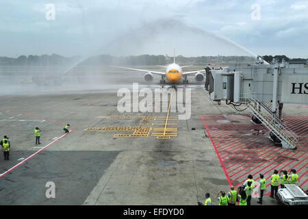 Singapore. 2nd Feb, 2015. Photo taken on Feb. 2, 2015 shows Singapore's Scoot 'Dream Start' Boeing B787 Dreamliner - Stock Photo