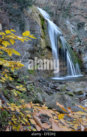 Such view waterfall Djur-djur has in autumn. This is the most famous waterfall of Crimea Mountains. - Stock Photo