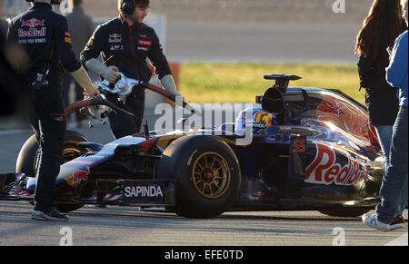 Spanish Formula One driver Carlos Sainz Jr. of Scuderia Toro Rosso steers the new STR10 during the training session - Stock Photo