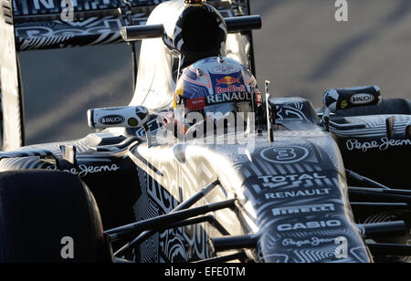 Australian Formula One driver Daniel Ricciardo of Red Bull Racing steers the new RB11 during the training session - Stock Photo