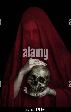 Girl posing with red cloth. Concept, abstraction - Stock Photo