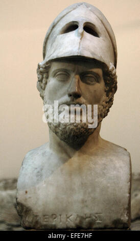 Pericles (495-429 BC). Greek statesman. Orator and general of Athens during the Golden Age. Roman copy of 2nd AD. - Stock Photo