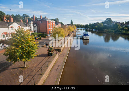 River; Dee; boats; morning; light; Chester; Cheshire; UK - Stock Photo