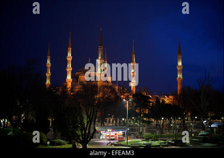 The Blue Mosque is seen at night as part of a photo essay on winter breaks in Istanbul, Turkey. - Stock Photo