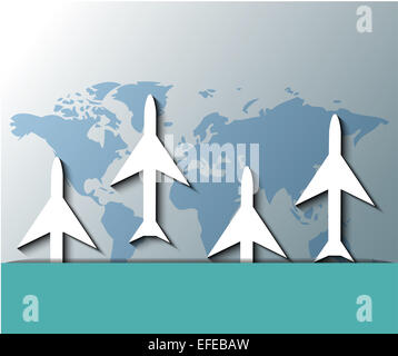 Illustration of planes flying over world map - Stock Photo