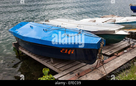Metal covers on the boats on the lake at Zell am See Austria in summer - Stock Photo