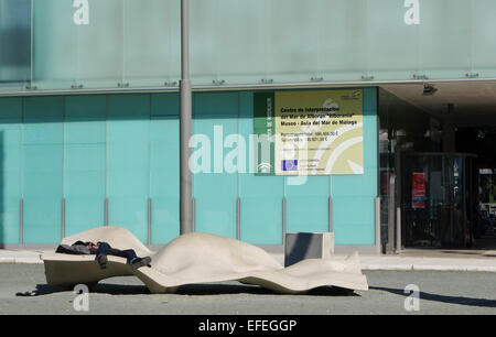 Modern urban furniture bench in front of museum of Alboran sea, Port of Malaga, Andalusia, Spain. - Stock Photo