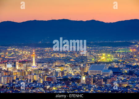 Kyoto, Japan sweeping view of downtown skyline at dusk. - Stock Photo