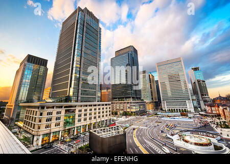Tokyo, Japan office buildings in Marunouchi Financial District. - Stock Photo
