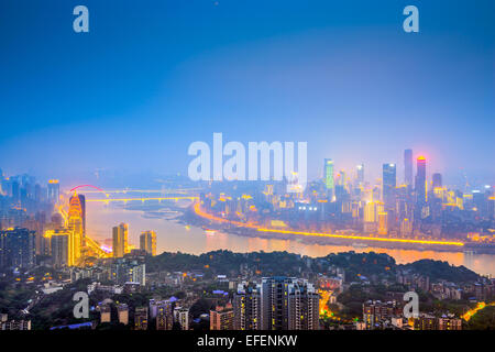 Chongqing, China downtown city skyline over the Yangtze River. - Stock Photo