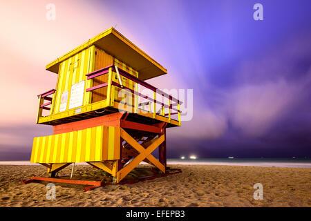 Lifeguard tower on Miami Beach. - Stock Photo