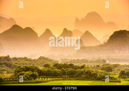 Karst Mountains of Guilin, China. - Stock Photo