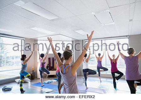 Women practicing tree pose in yoga class - Stock Photo
