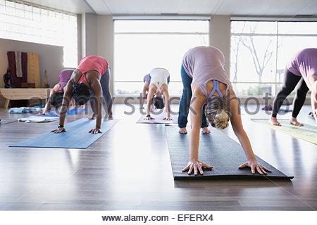 Women practicing downward facing dog in yoga class - Stock Photo
