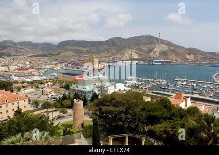 Cartagena  Harbour and Marina seen from Parque Torres hill  in Cartagena, Murcia Province, Spain - Stock Photo