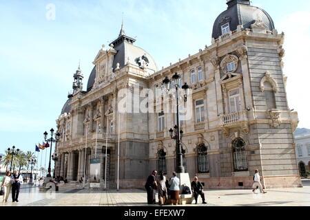 Early 20th century  City Hall (Ayuntamiento) in Cartagena, Murcia Province, Spain. - Stock Photo
