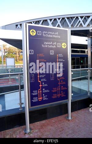 Route map at Dubai Media City tram stop, Dubai, United Arab Emirates - Stock Photo