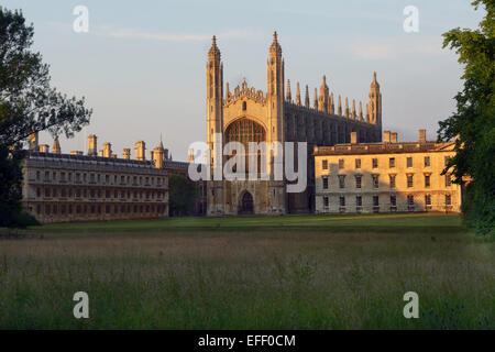 Kings College Chapel  Cambridge  taken across the Back Lawn with the Gibbs building right, and Clare College left. - Stock Photo