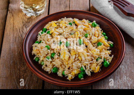 fried rice with egg and peas - Stock Photo