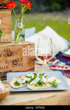 Plate of food at a picnic in the park - Stock Photo
